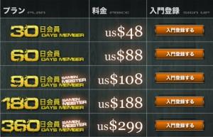 ザーメン道!!料金表