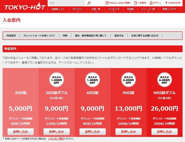 my.tokyo-hot.com入会案内ページ